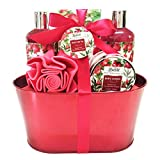 Mothers Day Gift Idea Spa gift Basket, with Relaxing Pomegranate Fragrance by Lovestee - Bath and Body Gift Set, Includes Shower Gel, Bubble Bath, Body Lotion, Bath Salt, Bath-Body EVA Sponge
