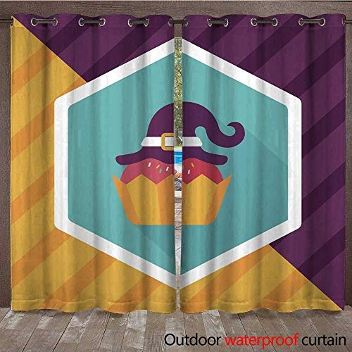RenteriaDecor Outdoor Curtains for Patio Sheer Halloween Cupcake