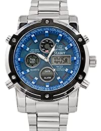 Men's Blue Stone Stainless Steel Chronograph Watch with Link Bracelet and LED Subdials
