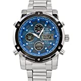 Stauer Men's Blue Stone Stainless Steel Chronograph Watch with Link Bracelet and LED Subdials