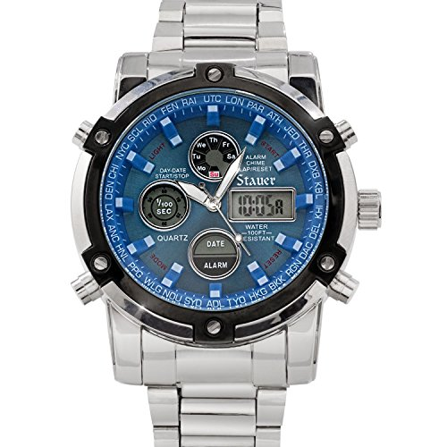 Stauer Men's Blue Stone Stainless Steel Chronograph Watch with Link Bracelet and LED ()