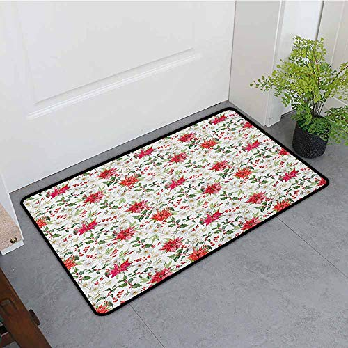 (Rubber Doormat,Watercolor Fresh Poinsettia Flowers and Rowan Berry Branches Christmas Garden,Super Absorbs Mud,24