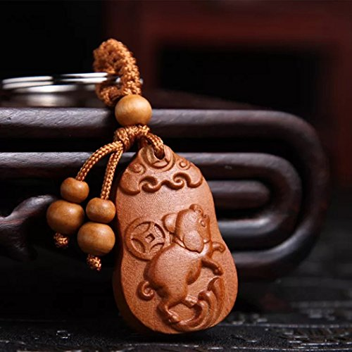 Feng shui Chinese Zodiac Key Ring Key Chain for success and wealth luck(with a better decor pounch) (Carved Pig) - Chinese Astrology Pig