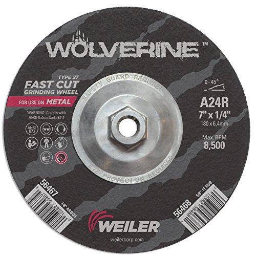 - Weiler 56468 Wolverine Type 27 Grinding Wheel, A24R, 5/8