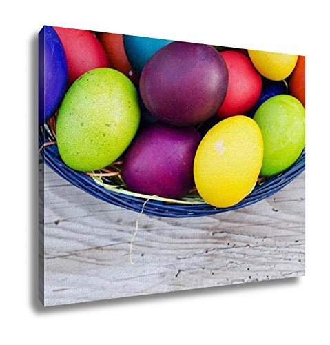 Ashley Canvas, Colorful Easter Eggs In Basket On Wooden, Wall Art Home Decor, Ready to Hang, 16x20, AG6573721