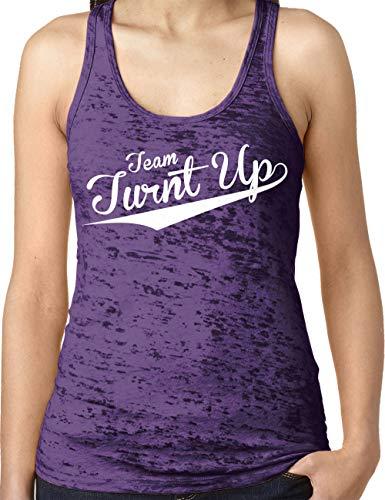 (Amdesco Ladies Team Turnt Up Burnout Racerback Tank Top, Purple Rush Small)