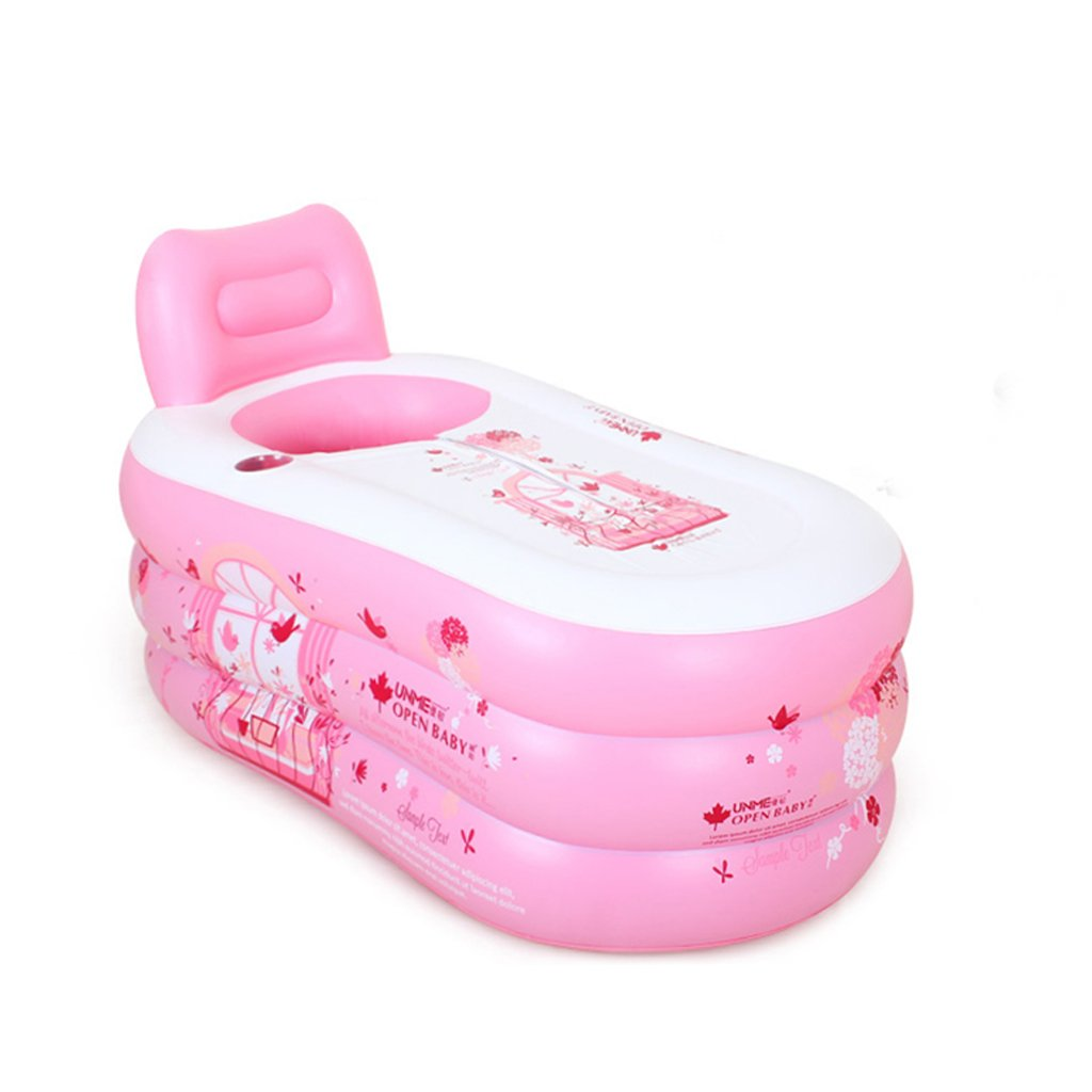 Inflatable Folding Bathtub, Double Portable Tub Pink Electric Pump Bath Thicker Insulation Adult Home SPA Children Swimming Pool, Foldable Travel Air Shower (Edition : MANUALLY)