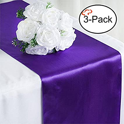 Superbe Tiger Chef 3 Pack Purple 12 X 108 Inches Long Satin Table Runner For Wedding