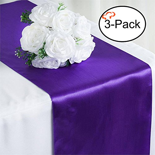 Tiger Chef 3-Pack Purple 12 x 108 inches Long Satin Table Runner for Wedding, Table Runners fit Rectange and Round Table Decorations for Birthday Parties, Banquets, Graduations, Engagements