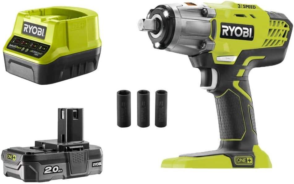 Ryobi 5133003574 Impacto de 18V con 3 Velocidades, Potencia Máxima de 400Nm + Batería Lithium+ One+ de 2Ah. + Llaves (Medidas)+ Bolsa de Transporte
