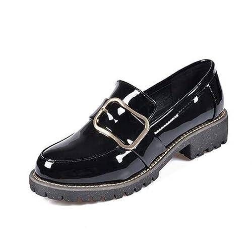 Primavera otoño Mocasines Bajos Hebilla de Mujer Decoración Patentes de Cuero con Punta Redonda Slip-on Zapatos Planos Estilo Inglaterra: Amazon.es: Zapatos ...