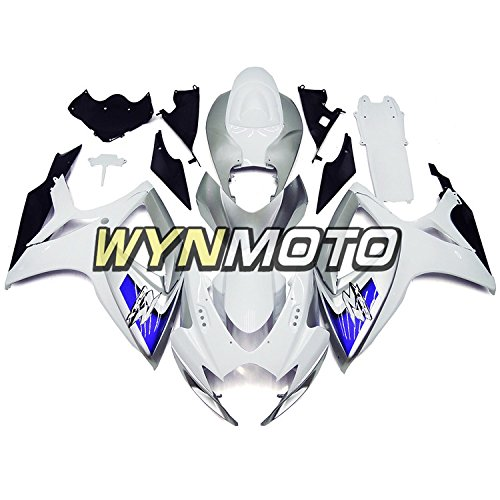 WYNMOTO Motorcycle Body Kit For Suzuki GSXR 600 750 K6 2006 2007 Sportbike Flat White Sliver Blue ABS Plastic Injection Full Fairings
