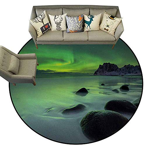 - Northern Lights,Floor Mat for Toilet Non Slip D66 Magic Nature Panorama Coastline Oval Energy Sky Mist Picture Rugs Almond and Lime Green