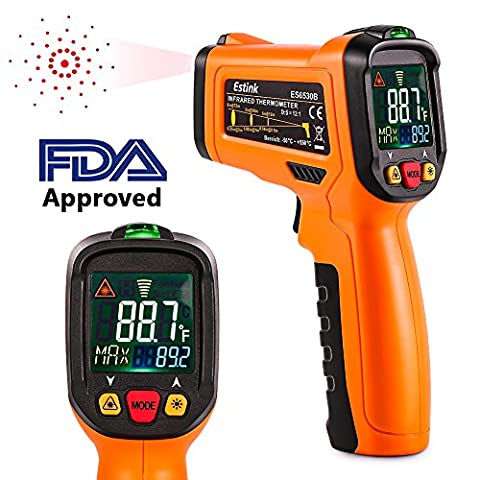 ES6530B Non-Contact Digital Laser IR Infrared Thermometer Temperature Gun for Kitchen Cooking BBQ Automotive Industrial, -58℉ - 1022℉ (-50℃ to 550℃) with HD Backlight LCD Display Accuracy - Infared Thermometer