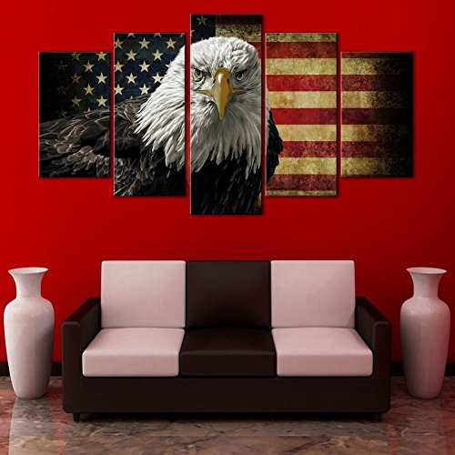 Retro American flag canvas USA Flag print art home decor Eagle wall art Independence Day pictures for living room 5 panel large poster painting Framed Ready to hang(60''W x 32''H)