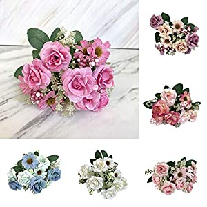 AMOFINY Home Decor Artificial Fake Western Rose Flower Bridal Bouquet Wedding Party Home Decoration 22