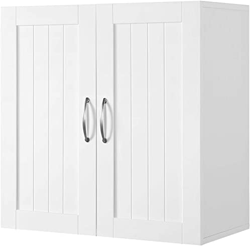 Yaheetech Bathroom Medicine Cabinet 2 Door Wall Mounted Storage Cabinet with Adjustable Shelf, 23.4in L x 12.2in W x 23.5in H, White Renewed