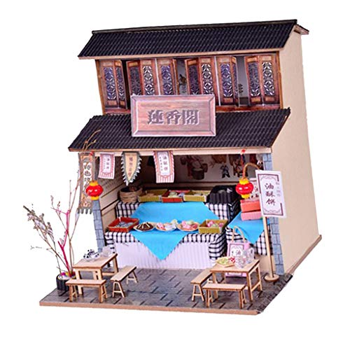 - Fenteer Miniature 1:24 DIY Dollhouse Furniture, 3D Diorama Wooden Vintage Special Snack Shop