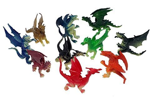 """2.5"""" - 3"""" Plastic Fire Breathing Mini Dragons - 10 Pieces from Toy Essentials"""