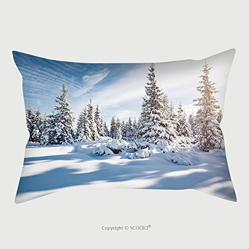 Custom Satin Pillowcase Protector Majestic White Spruces Glowing By Sunlight Picturesque And Gorgeous Wintry Scene Location Place 519397579 Pillow Case Covers Decorative