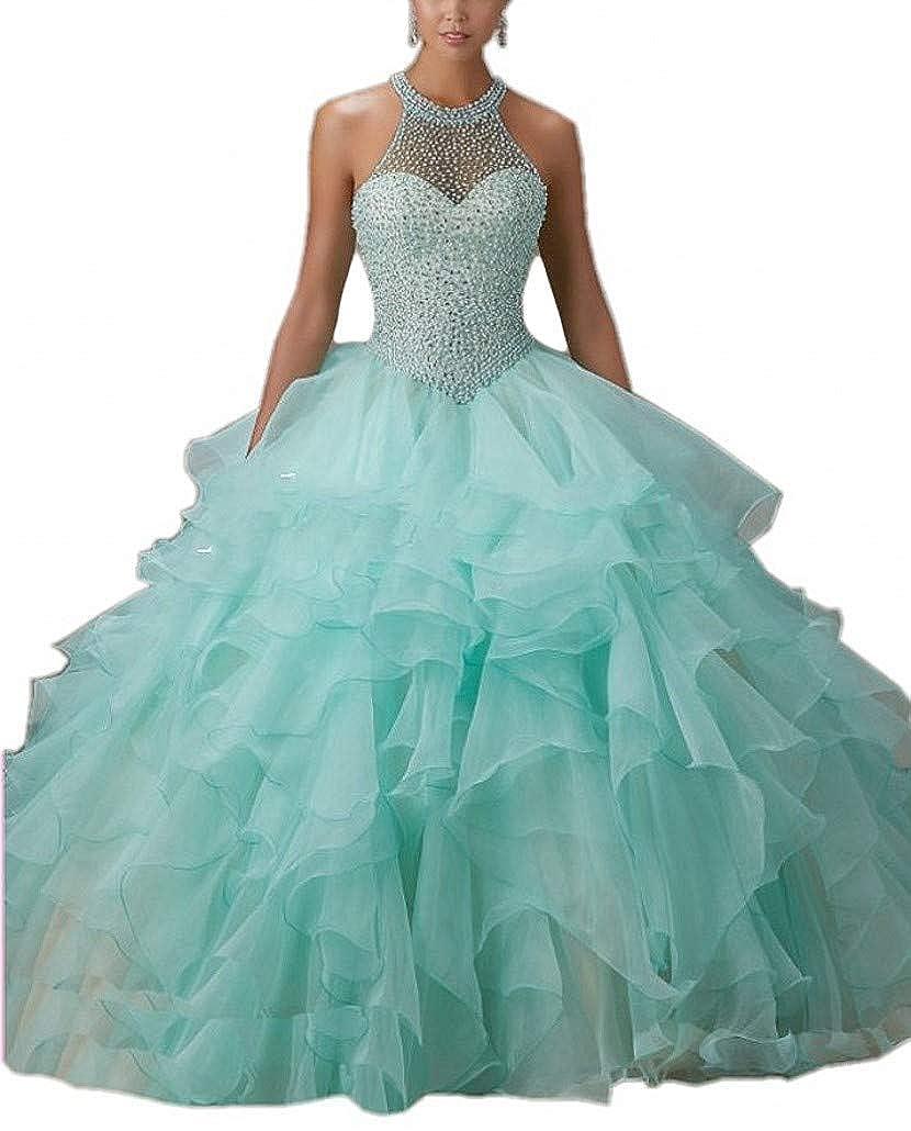 bluee ANGELA Women's Halter Beads Ball Gown Quinceanera Dresses Organza Long Prom Dress