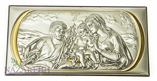 Beautiful Holy Family Icon Silver With Gold Handmade Holy Land 8.7'' by Holy Land Gifts