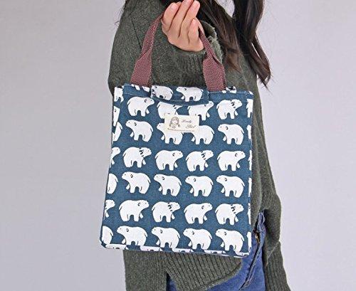 Ulooie portabilità outdoors picnic tela del fumetto della borsa borsa borsa di stoccaggio (Polar Bear modello)