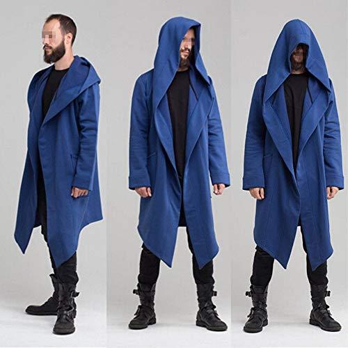 Men's Long Trench Coat Winter Long Hoodie Cardigan Cape Coat Loose Jacket Overcoat