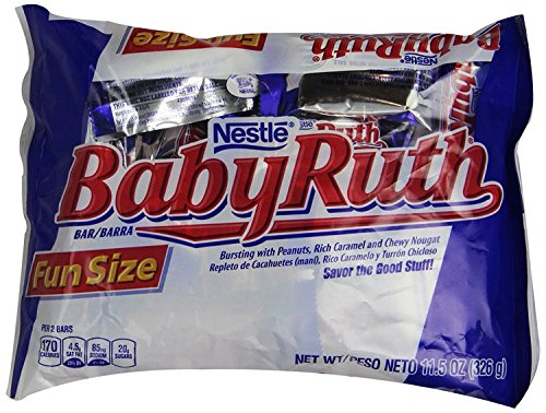 Nestle Baby Ruth Bursting Peanuts Rich Caramel Chewy Nougat Candy Snack Size, 11.5 Ounce (Pack of 2) Rich Chewy Caramel Snack Bar