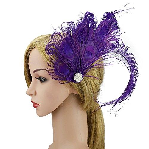 ACTLATI Elegant Peacock Feather Hair Clip Fascinator Hairpin Rhinestones Cocktail Party Girls Women