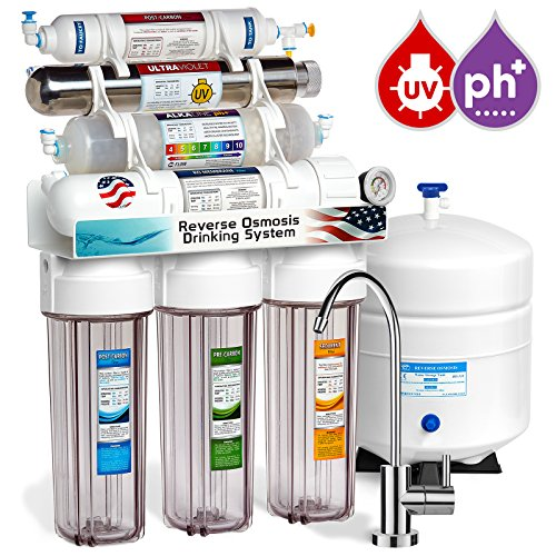 Express Water 11 Stage UV Ultraviolet + Alkaline + Reverse Osmosis Home Drinking Water Filtration System 100 GPD RO Membrane Filter - Modern Faucet - Clear Housing - Pressure Gauge by Express Water