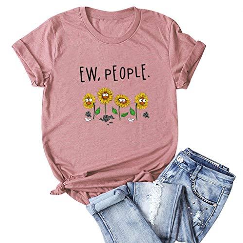 Fshinging Women Plus Size T-Shirt Crewneck Short Sleeve Casual Top Loose Fit Tunics Tee Shirts Pink ()