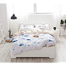 """4 Piece Kids Swimming Fish Pattern Duvet Cover Set Children's Cotton Bedding Sets/Collections with Flat Sheet and Pillowcases,White and Blue,Twin/XL Twin(79""""x90"""")"""