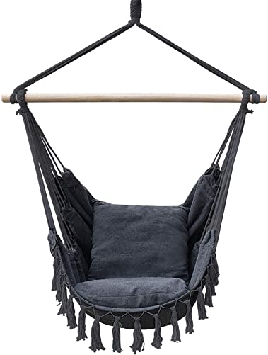 Lazy Daze Hammocks Hanging Chair Cotton Rope Weaving Swing Chair Macrame Seat, Two Seat Cushions Included, Weight Capacity 300 Lbs, for Indoor, Outdoor, Gray