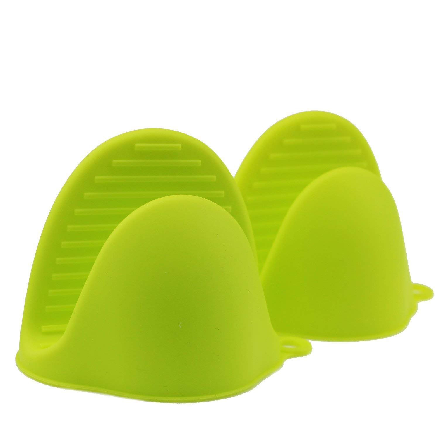 Deway (Set of 2) Silicone Heat Resistant Cooking Pinch Mitts, Mini Oven Mitts Gloves, Cooking Pinch Grips, Pot Holder and Potholder for Kitchen, Green