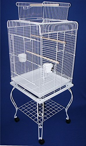 YML 24-Inch Dometop Parrot Cage with Stand, White by YML