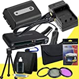NPFH50 Lithium Ion Replacement Battery w/Charger + Mini HDMI + 3 Piece Filter Kit + USB SD Memory Card Reader /Wallet + Deluxe Starter Kit for Sony DCRDVD508, DCRDVD408, DCRDVD308, DCRDVD108, DCRDVD505, DCRDVD405, DCRDVD305, DCRDVD205, DCRDVD105, DCRDVD40