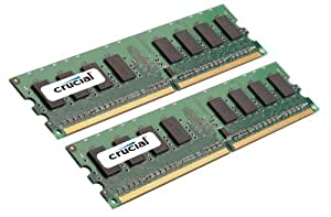 Crucial 2GB (1GBx2) DDR2-667 (PC2-5300) CL5 Unbuffered ECC 240-pin DIMM 1.8V Memory Upgrade