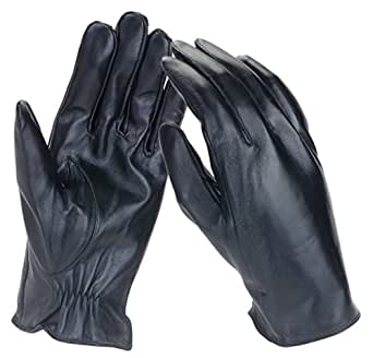 Dwellbee Men's Classic Leather Winter Gloves ,Medium (French Morocco Leather,Black)