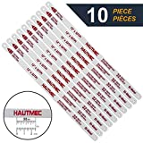 HAUTMEC Hacksaw Replacement Blades BI-METAL (10 Pack) High Speed Steel Grounded Teeth 32 TPI x 12'' Length 0.025'' Thick x 1/2'' Width HT0018-CT