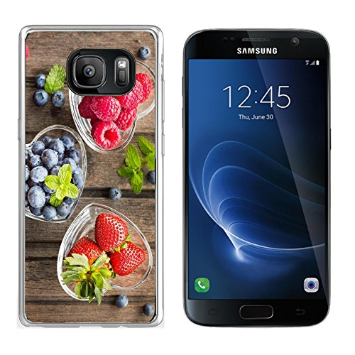 Luxlady Samsung Galaxy S7 Clear case Soft TPU Rubber Silicone IMAGE ID: 41294551 Mix of fresh berries in three glass ramekins in shape of heart on wooden background top vi ()