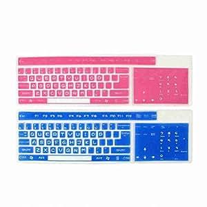 Movimiento y movimiento (TM) 2Pcs Azul y Rosa anti polvo Desktop Keyboard Proteger Película Protectora 44,5cm x 13,5cm