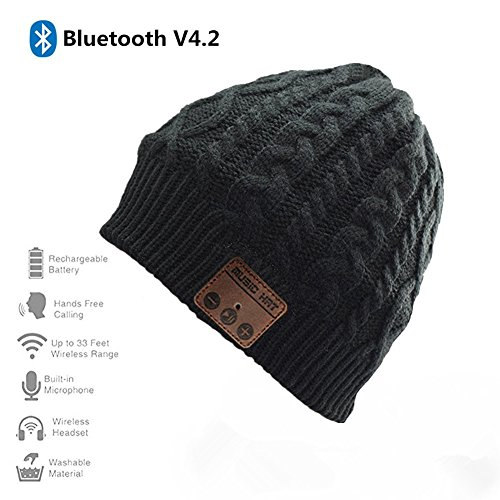 Happy-top Wireless Bluetooth Beanie Hat 4.2 Unisex Winter Warm Knitted Hat Trendy Cap with Stereo Headphone Headset Speaker Mic Hands-free for Sports Workout Best Christmas Gifts (Black)