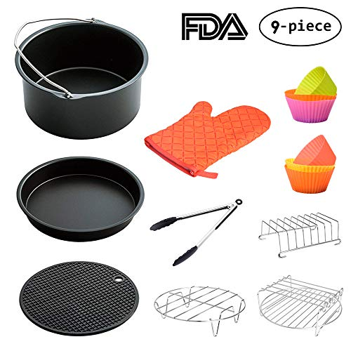 Air Fryer Accessories 8 Inch for 5.8 qt XL Air Fryer, 9 pieces for Gowise Phillips and Cozyna Air Fryer, Fit 4.2 qt to 5.8 qt, LATTCURE by LATTCURE