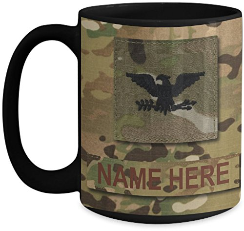 US Air Force (USAF) Colonel (Col) O6 OCP Coffee Cup - Personalized Military OCP Uniform 15 oz Mug - Customize with Name/Text/Rank (Black)