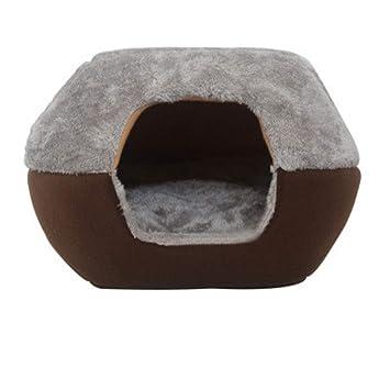 njhswlti Saco para Gatos de la casa del Gato Mongol Cuatro Estaciones Universal Cerrado Invierno cálido Saco de Dormir para Mascotas, marrón Gris: ...