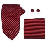 Y&G H6048 Red Stripes Wholesale For Marriage Silk Ties Cufflinks Hanky Groom Gifts Set 3PT