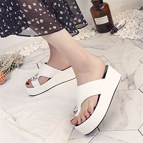 High Toe White Antidérapant Plateformes Heeled YUCH Femmes Cales Chaussons Sandales EqEUBS