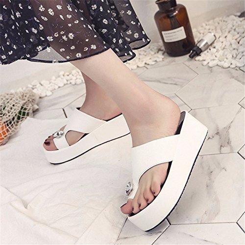 Zapatillas Sandalias White Cuñas Heeled Mujer Dedo High Plataformas De YUCH Antiresbaladiza De ZpCwdqq