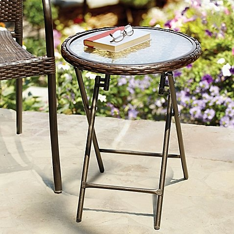 Stratford Wicker Folding Accent Table in Bronze with Tempered Glass - Bistro Bath
